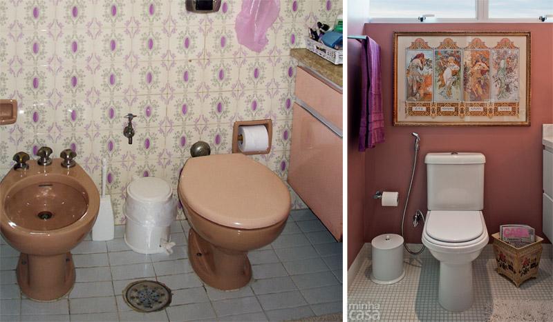 Antes e depois banheiro reformado, atualizado e lindo  Casa BaunilhaCasa Ba -> Decoracao De Banheiro Com Ceramica Na Parede
