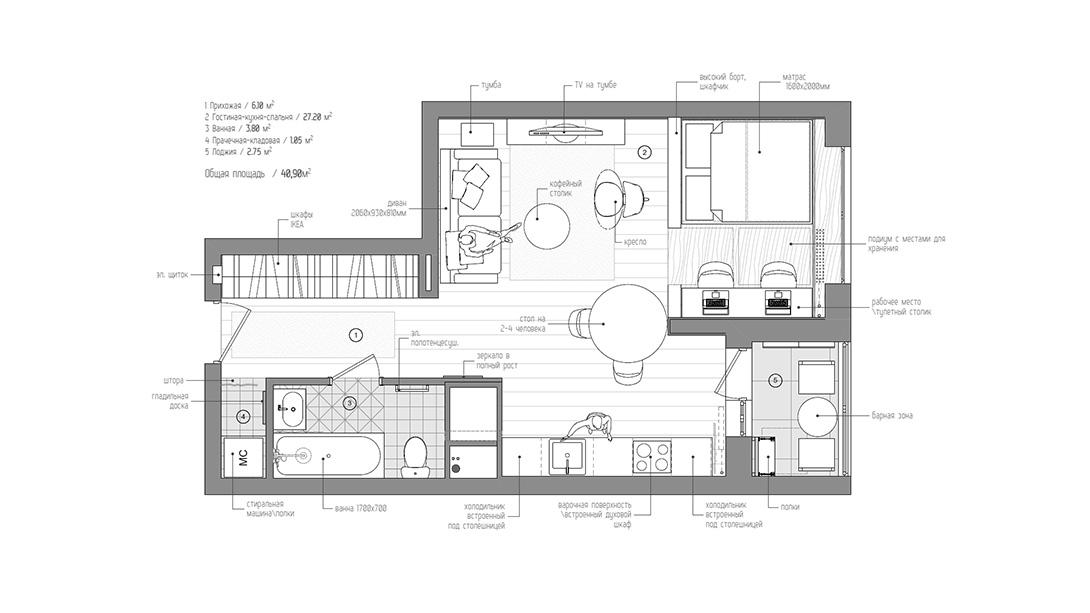 Cabe tudo em 40 m casa baunilha for Salon 40m2 plan
